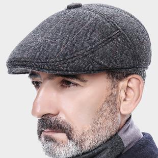 中老年帽子棉帽羊毛呢护耳老人帽前进帽