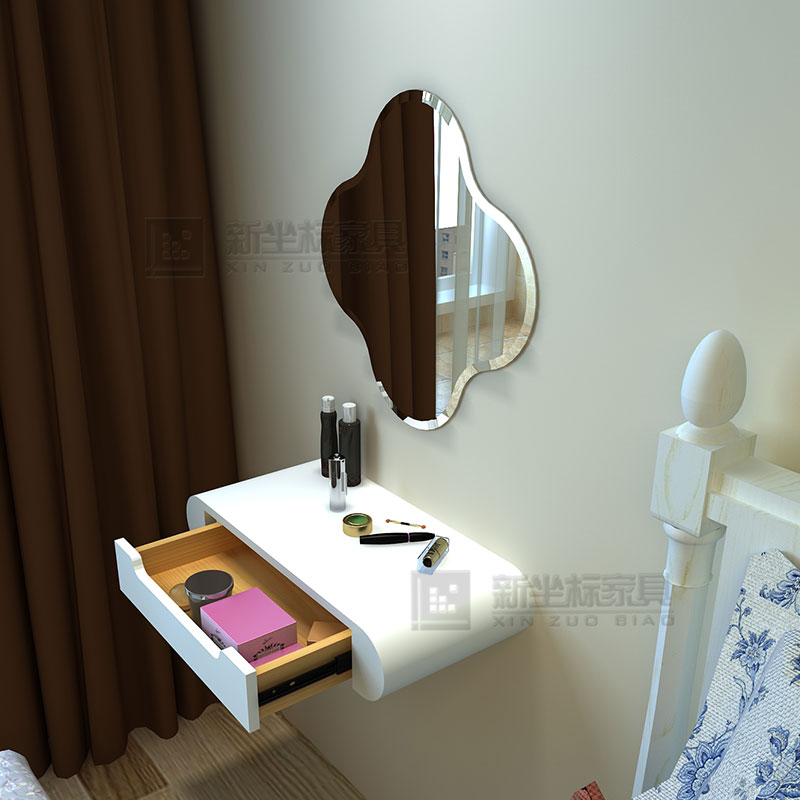 Modern Minimalist Wall Mounted Dresser Mirror Small Apartment Mini Bedroom  Headboard Makeover Cabinet White Lacquer Vanity Table
