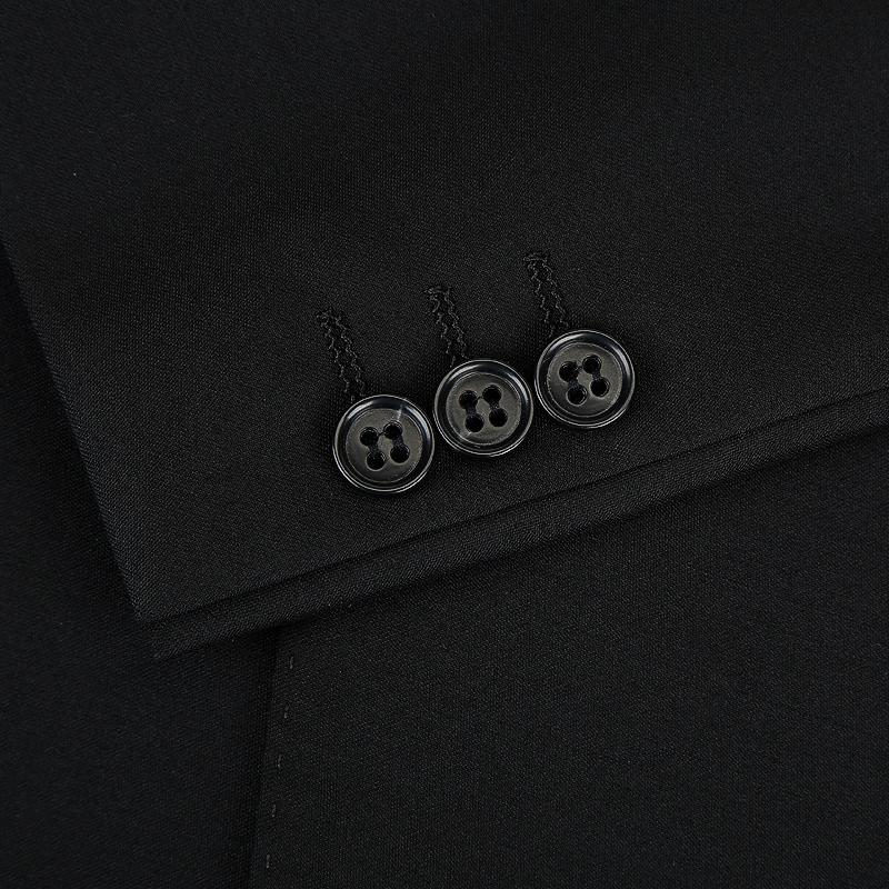 雷德西奥羊毛西服外套纯黑色西服套装修身商务套西结婚礼服