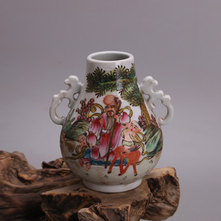 Famille rose birthday stars in the Qianlong period of the Qing Dynasty, double-eared blessed tube, antique junk antique porcelain collection ornaments
