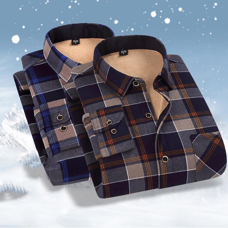 秋冬男士格子衬衫男长袖休闲宽松衬衣2021新款加绒中年人爸爸衣服