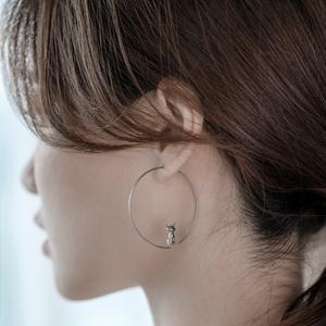 海盗船耳饰耳环2021年新款潮女设计感气质高级感大圈圈耳坠银圆环