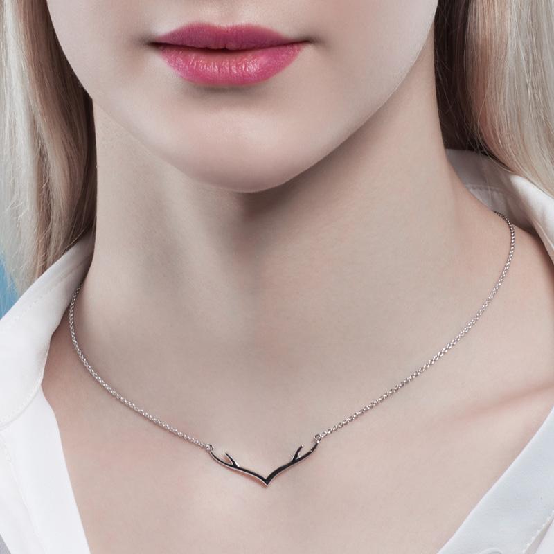 情人节礼物,海?#38142;?新款鹿小姐925银项链