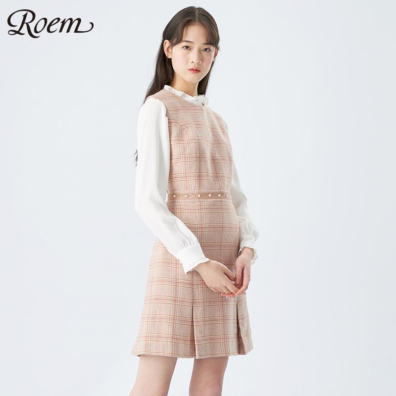 Roem连衣裙韩版女士时尚a女士无袖格纹修身淑女打底气质连衣裙