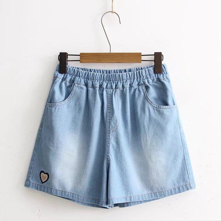 少女装松紧腰13夏季12岁女孩15初中学生16韩版14大童做旧牛仔短裤