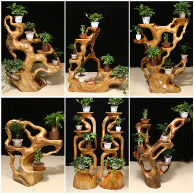 Scented wooden root carved frame solid wood natural tree roots, floor, multi-storey living room, root, bonsai, wood carving ornaments