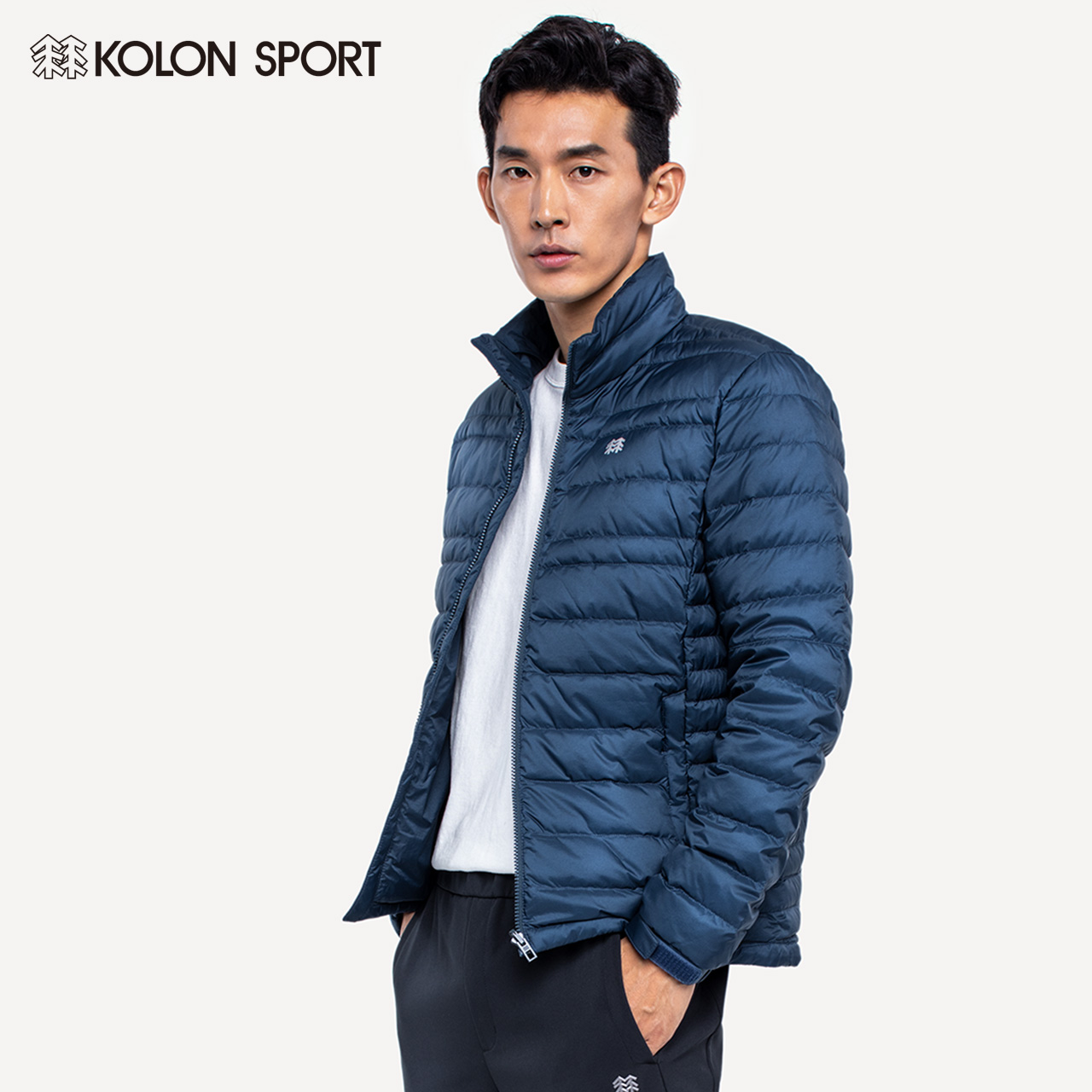 KOLONSPORT Colong down jacket men's lightweight goose down down jacket outdoor collar warm short jacket.