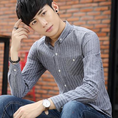 秋季青年潮条纹长袖衬衣男装韩版时尚流行寸衫学生修身休闲衬衫