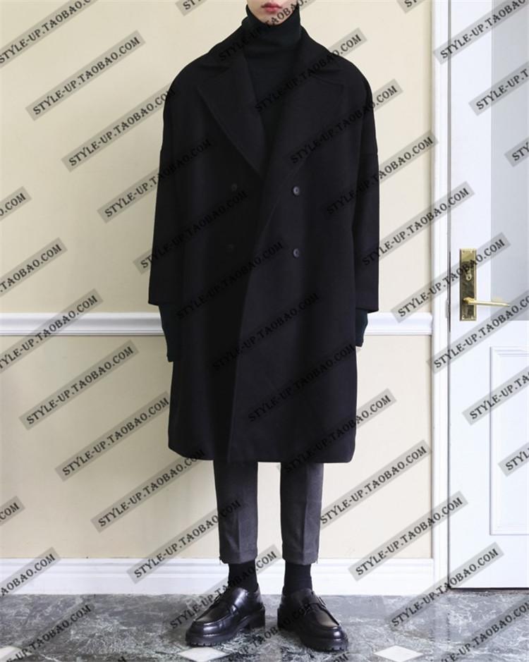 Mùa thu và mùa đông Hàn Quốc phiên bản của kích thước lớn lỏng cashmere áo của nam giới đôi ngực áo len nam dài đoạn thả vai dày áo triều