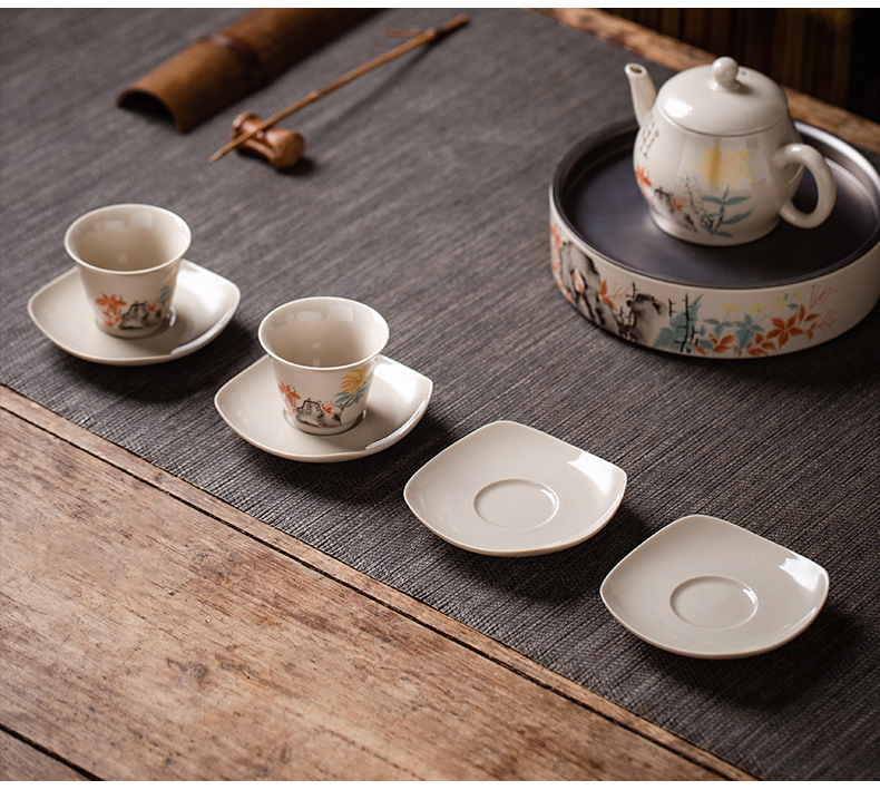 Kung fu tea cup pad supporting tea cup Japanese ceramics China tea accessories zero wind restoring ancient ways with small tea cup mat