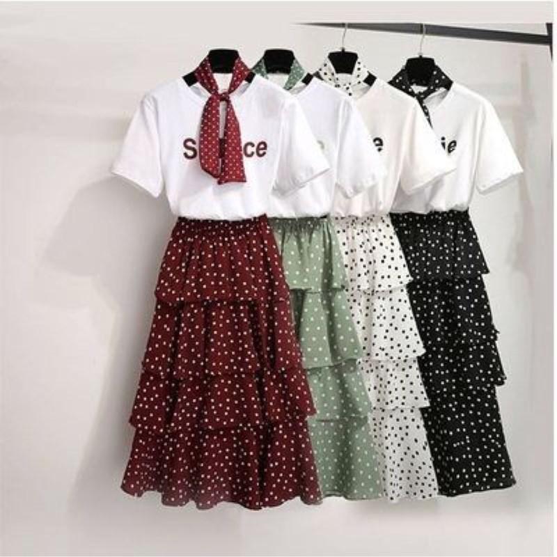 短袖T恤连衣裙夏天学生蓬蓬蛋糕裙子女装夏新款森系超仙女裙套装