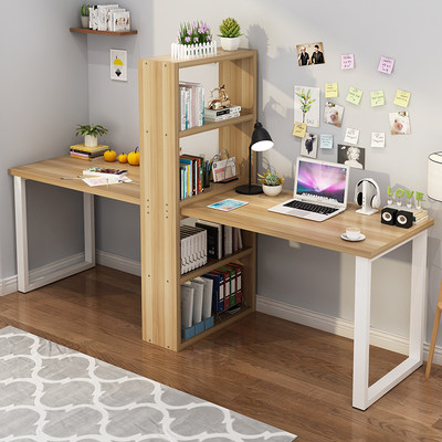 Simple Double Desk Table Household Computer Table Bookcase Desk Table Books Combination Budget Student Word Table