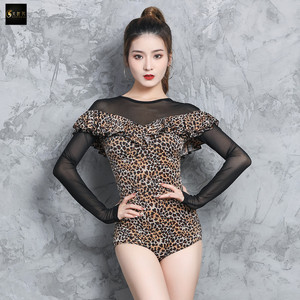 Women's latin dance dresses Latin dance suit one piece top women long sleeve professional gymnastic suit with breast pad
