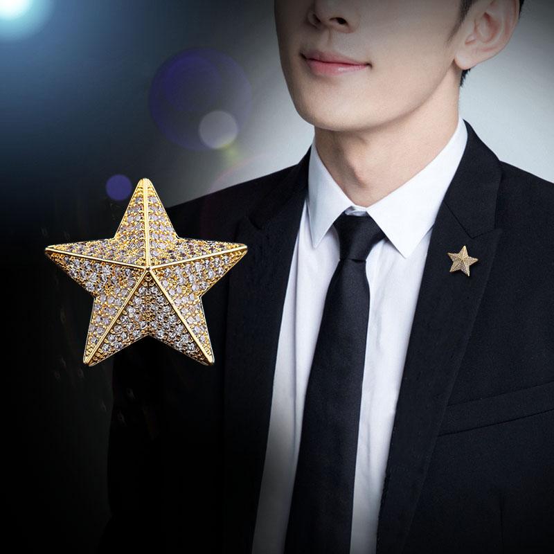 五角星胸针男士西装领针高档奢华胸花ins潮个性徽章衬衫领扣配饰