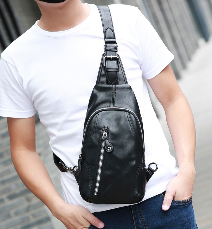 Counter new men s chest bag Korean casual pockets Tide men s bag leather shoulder  bag messenger bag a77b08fb2ec85