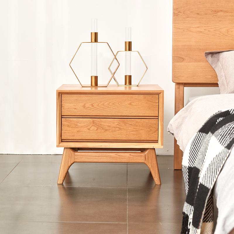 西耶-大肚床頭柜-北歐實木北美黑胡桃邊柜櫻桃木柜子臥室橡木家具