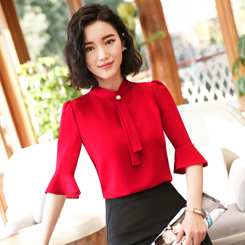 be6879966f9 7 points sleeve chiffon shirt female skirt 2018 new Korean fashion sleeve  tooling career inch shirt red shirt summer