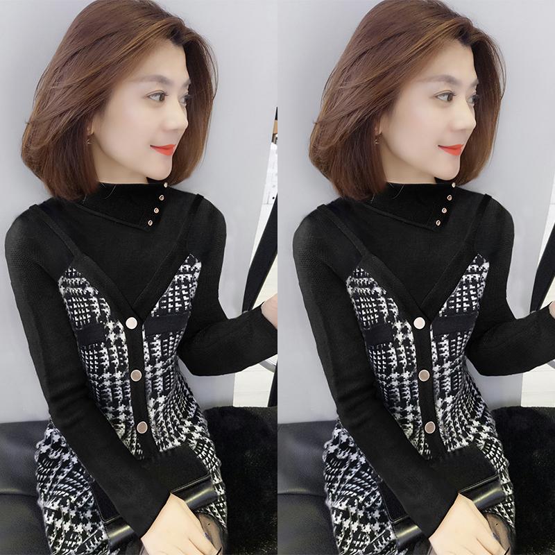 欧洲站打底2019新款秋装小个子格子套装件套毛衣裙子女装两吊带