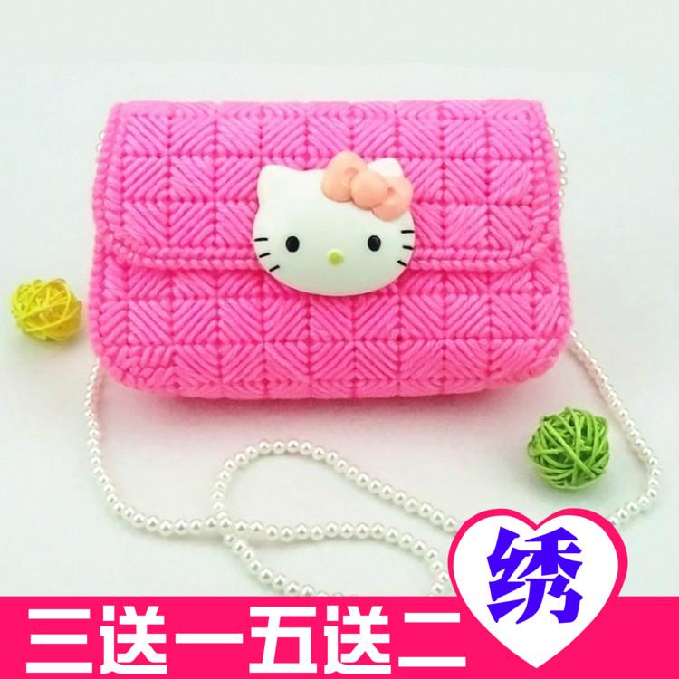 十字绣新款创意立体毛线绣Hellokitty卡通KT猫纸巾盒手包钱包拎包