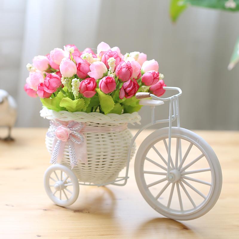 餐桌家居装饰花车花篮创意客厅饰品藤编摆件假花绢花自行车花器