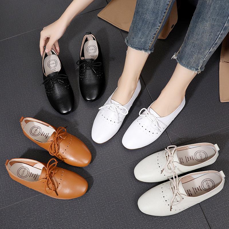鞋子2019新款真皮女鞋春款平底单鞋女百搭平跟小皮鞋休闲鞋小白鞋