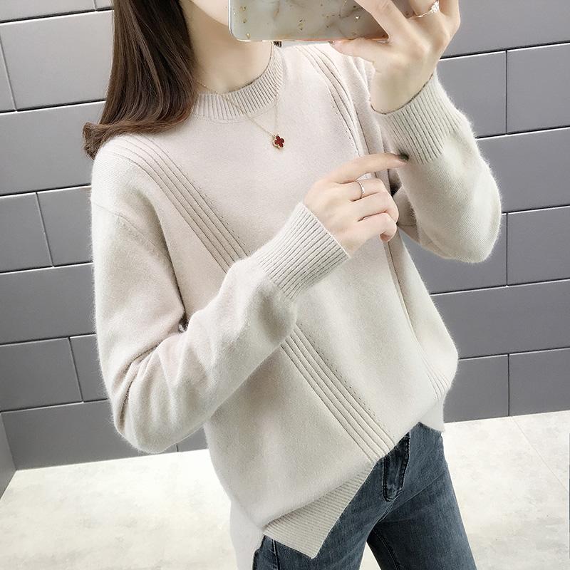 圆领针织衫秋季新款女宽松韩版显瘦毛衣内搭打底衫纯色长袖短线衣