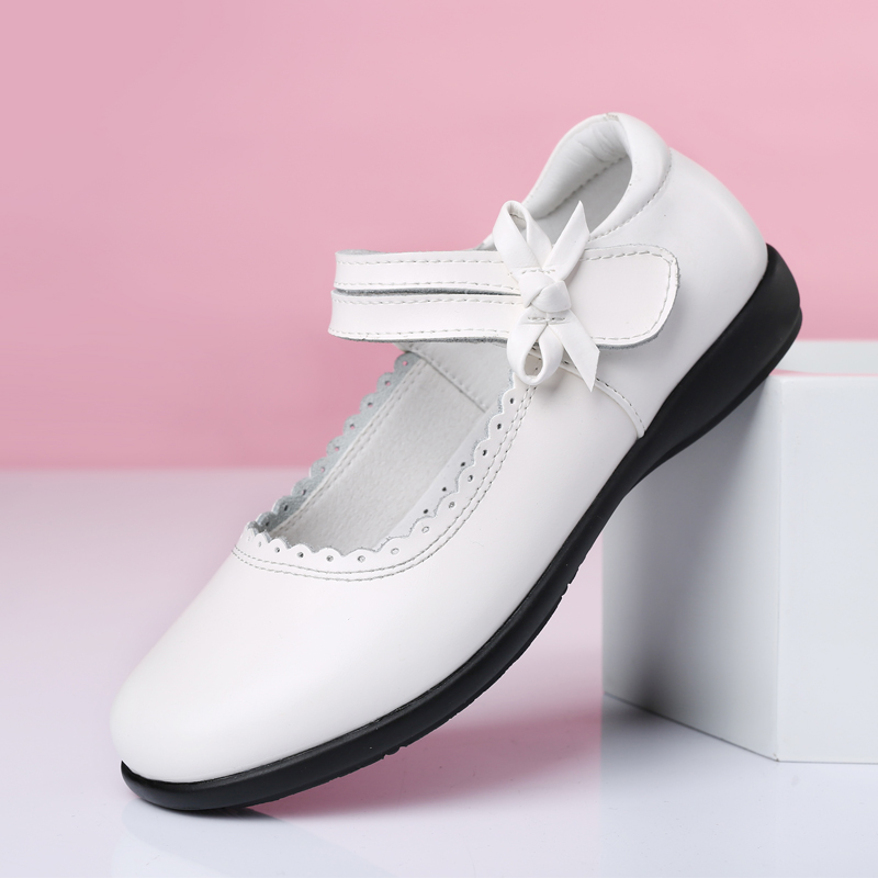 Girls Leather Shoes - 7805 - White