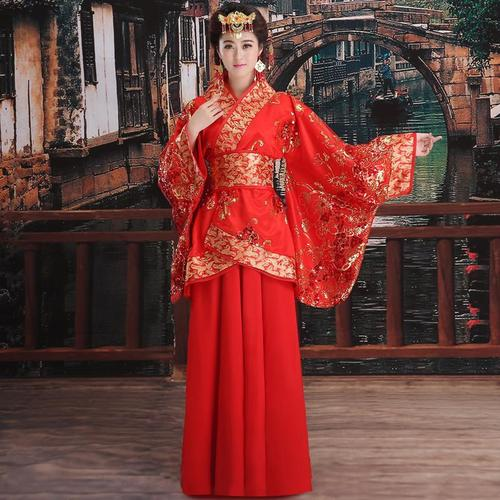 Chinese Folk Dance Dress Drama costume, ancient costume, imperial concubine dress, Tang Dynasty wedding dress, red bride dress, Han dress, princess ancient women dance dress
