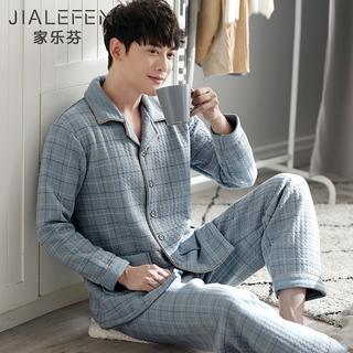 Пижама мужской в весенний и осенний плюс утолщенный с хлопком длинный рукав домой одежда хлопок зимой зима тонкая модель стеганый тепло рукав наряд, цена 2435 руб