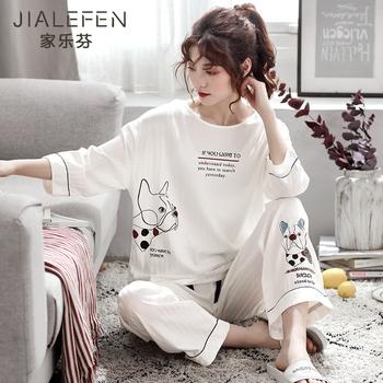 Тканый хлопок весна модельа пижама мисс в весенний и осенний с длинными рукавами чистый хлопок семь штук домой одежда случайный может из ворота, цена 1882 руб