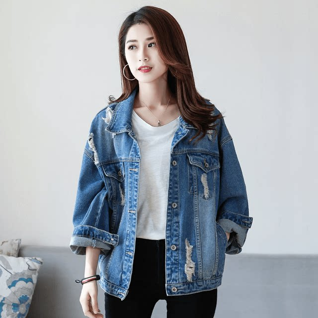 Hole net red loose denim jacket female wild 2020 new spring Korean students Harajuku style jacket bf