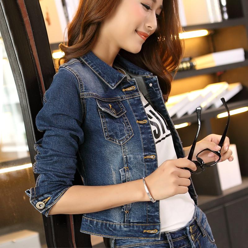 2018秋季牛仔外套女短款显瘦修身弹力韩版学生长袖BF潮复古牛仔衣