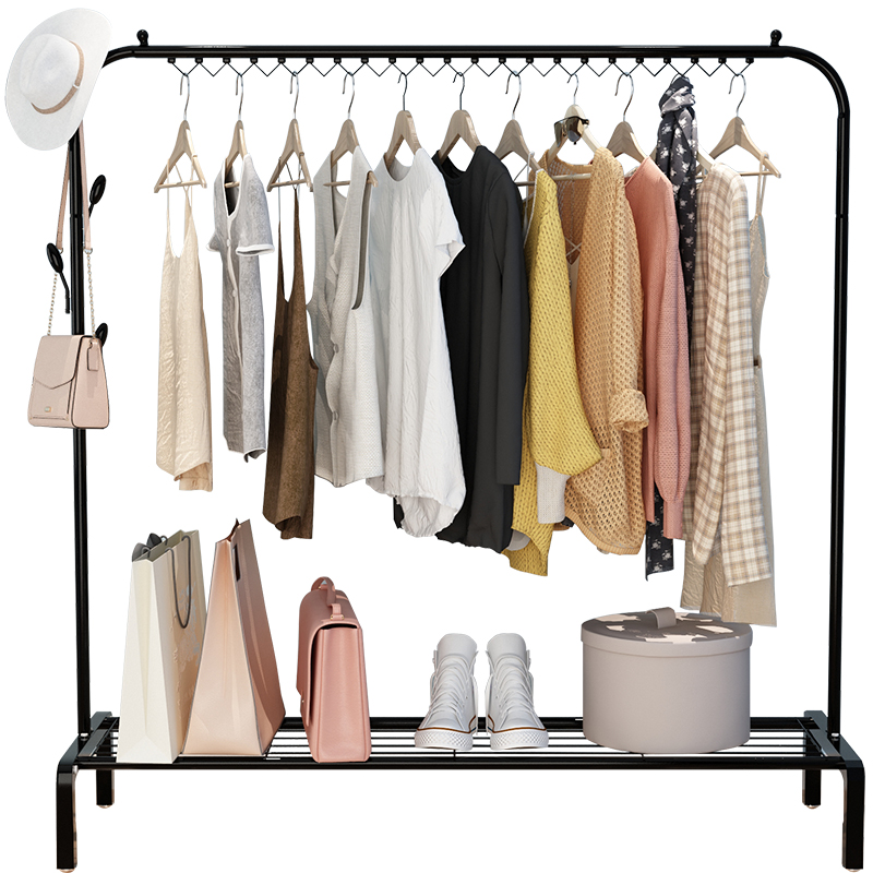 Indoor Floor Hanger Balcony Clothes Rod Bedroom Hanger Simple Folding  Single Rod Clothes Shelf Cooling Rack