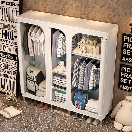 Simple cloth wardrobe steel pipe reinforcement thick assembly steel frame modern economic fabric Oxford cloth wardrobe storage cabinet