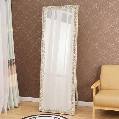 Carved dressing mirror full body mirror solid wood fitting mirror wall hanging vertical clothing store lamination mirror hanging landing