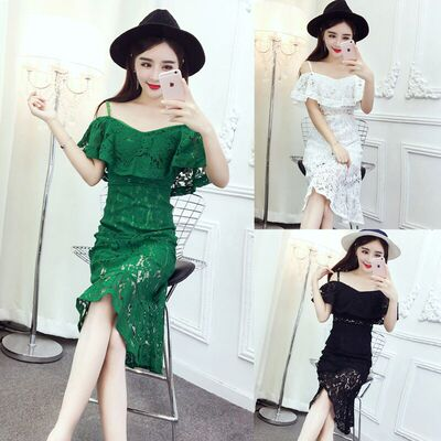 2017 summer new club ladies temperament sexy lace sling collar exposed thin dress