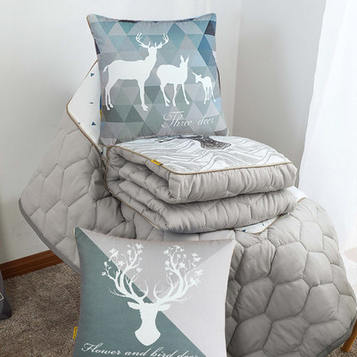Nordic pillow quilt dual-use car folds three-in-one afternoon summer cool is taken in bed DIY custom