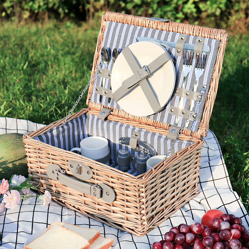Lwt-195 Meal Basket + Upgrade Metal Cutlery For 2 Persons