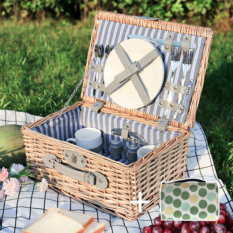Lwt-195 Meal Basket + Upgrade Metal Tableware For 2 People + Picnic Mat