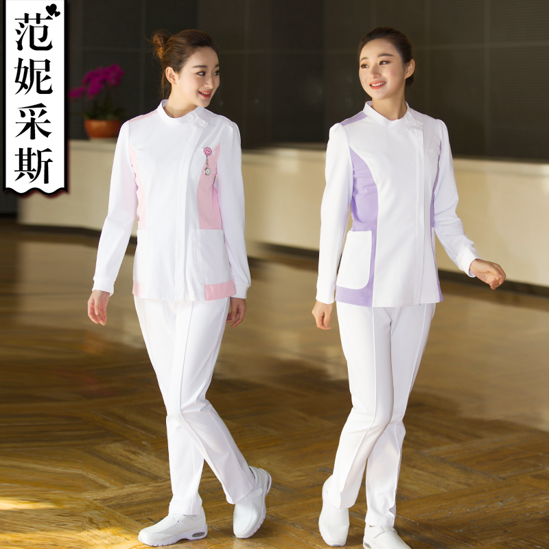 Smart Nurse Split Suit Medical White Coat Medical Uniform Long Sleeve Flower Nurse Dress Beauty Suit Dentist Dress Doll Collar Nurse Uniform Novelty & Special Use