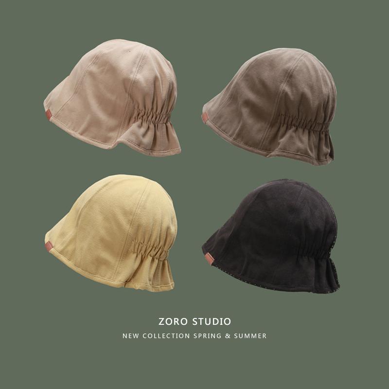 帽子女防晒水桶帽ins韩版遮脸渔夫帽子女夏季薄款棉麻复古遮阳帽