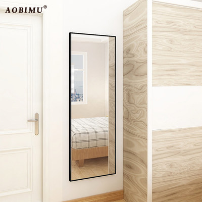 Solid wood dressing mirror wall hanging pastry fitting mirror full body mirror wall wall self-viscous home floor lens