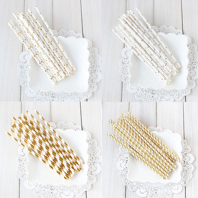 ins disposable paper straw straight pipe paper hot gold high-end juice drink afternoon tea children's party supplies festival.