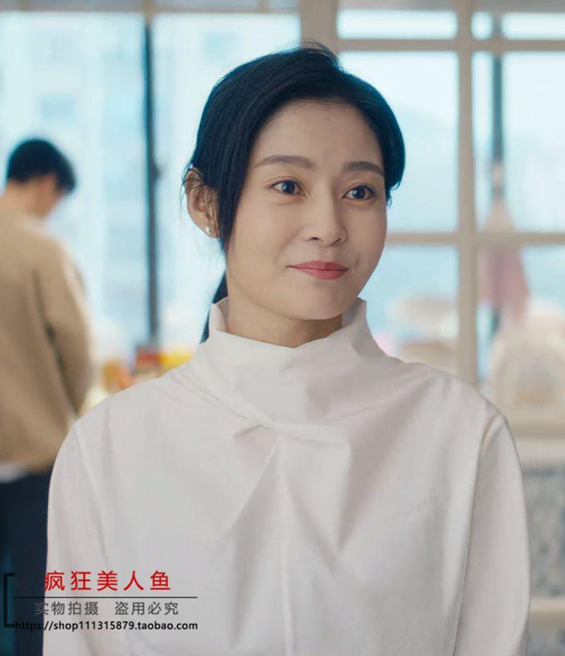 我是真的爱你王媛可陈娇蕊同款百搭宽松半高领时尚白色衬衫上衣女