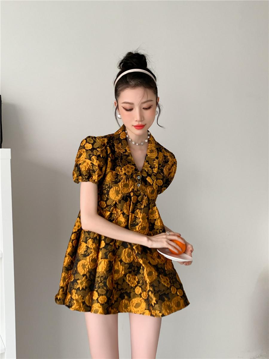 O1CN01m1UKOX1FLIokCXWZT !!1978160470 - Summer Turn-Down Collar Puff Sleeves Yellow Floral Print Mini Dress