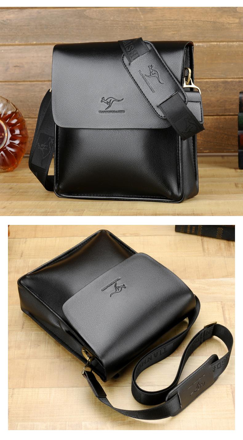 澳洲名牌 袋鼠 潮男時尚休閑小牛皮側背包  防水耐磨 平板電腦包 (竪款)