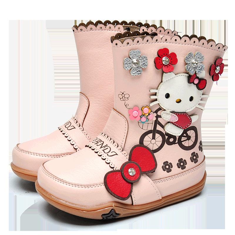 熊猫胖迪靴子卡通秋冬季中筒靴2019新款加绒女童儿童宝宝马丁靴女