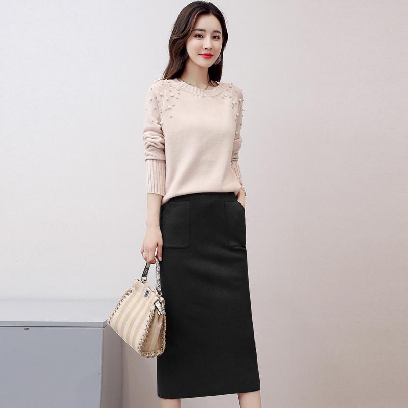2019秋冬韩版时尚气质中长款毛衣裙子过膝长袖针织连衣裙两件套装