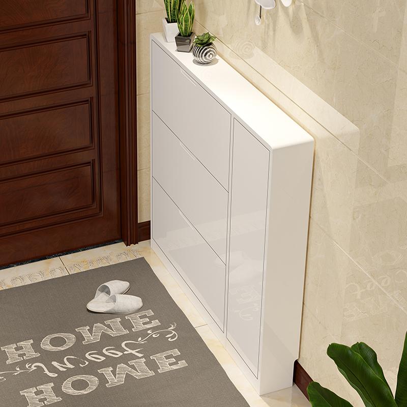 鞋柜超薄翻斗家用入户门口窄玄关门厅17cm白色大容量烤漆架省空间