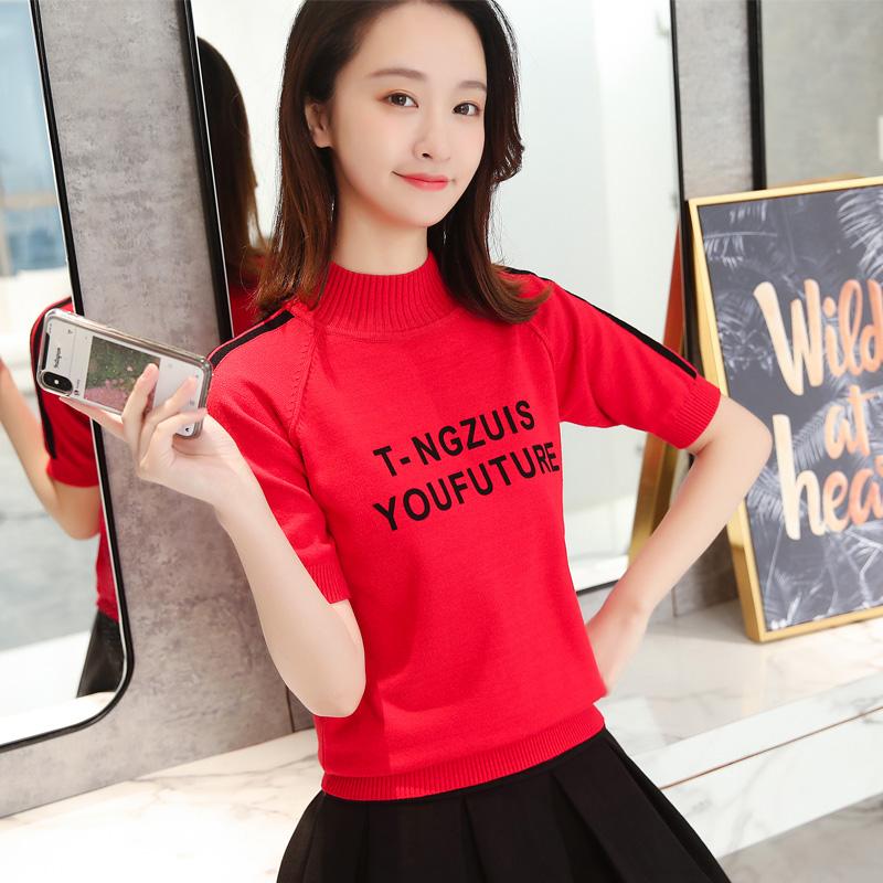 韩版半袖字母上衣打底短款宽松短袖毛衣春秋新款半高领女装针织衫